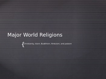 World Religions- Christianity, Islam, Buddhism, Hinduism, and Judaism PowerPoint