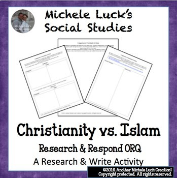 World Religions Comparison Centers Activity & ORQ Writing Bundle