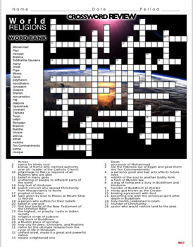 World Religions Crossword Puzzle Review Hinduism Buddhism