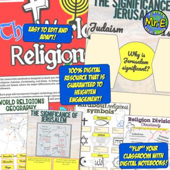 World Religions DIGITAL Interactive Notebook! Christianity, Judaism, Islam INB!