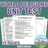 World Religions & Early Civilizations Unit Test / Exam / Assessment