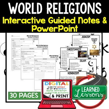 World Religions Guided Notes and PowerPoints, Interactive Notebooks, Google