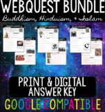 World Religions (Hinduism, Buddhism, Islam) WebQuest BUNDLE