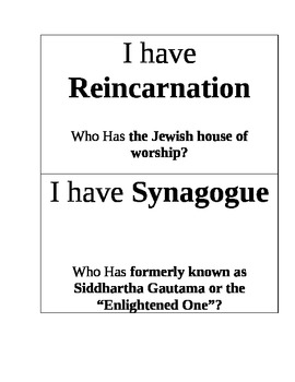 World Religions: I Have, Who Has