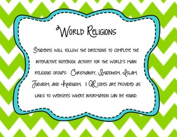 World Religions Interactive Notebook Activity