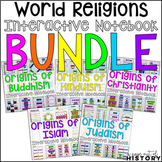 World Religions Interactive Notebook and Graphic Organizers Bundle