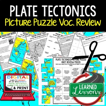 Plate Tectonics Picture Puzzle Study Guide Test Prep (Earth Science)