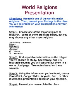 World Religions Presentation (DOC)