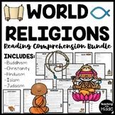 World Religions Informational Text Reading Comprehension Worksheet Bundle