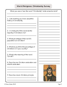World Religions Activity Student Surveys