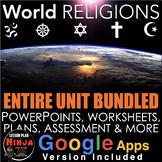World Religions Unit - PPTs, Worksheets, Lesson Plans+Test