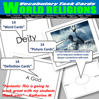 World Religions Vocabulary Task Cards