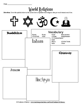 world religions vocabulary worksheet by students of history tpt. Black Bedroom Furniture Sets. Home Design Ideas