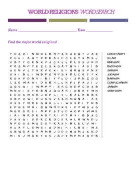 World Religions Word Search