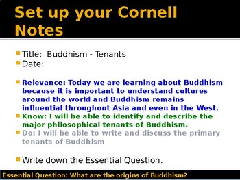 World Religions and Ethical Systems - Buddhism Tenants