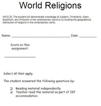 World Religions and their Geographical Distribution- Picture Supported Unit SPED