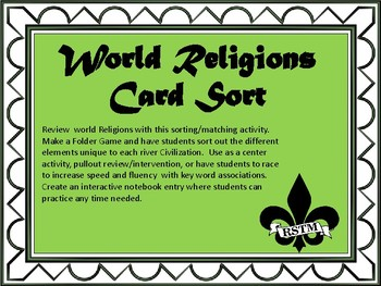 World ReligionsCard Sort and Interactive Notebook Activity
