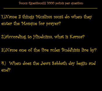 World Religions:Christianity,Islam,Buddhism,Hinduism,Judaism Jeopary Review