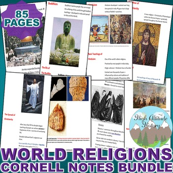 World Religions Cornell Notes *Bundle* (World History / World Religions)