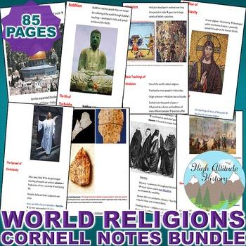 World Religions Cornell Notes *Bundle* (World History / World Religions)