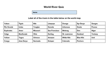 World Rivers Quiz