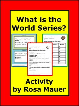 What is the World Series? Baseball Task Cards