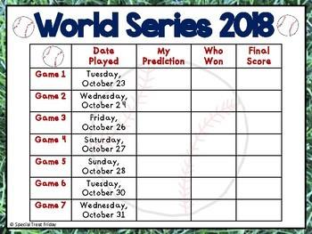 World Series Baseball Reading and Writing Activity