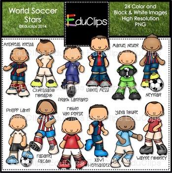 World Soccer Stars Clip Art Bundle {Educlips Clipart}