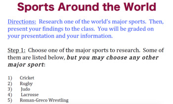 World Sports Presentation (with Rubric)