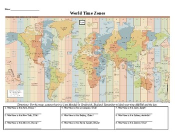 world time zone worksheet by social studies resources by rob johnson. Black Bedroom Furniture Sets. Home Design Ideas