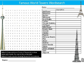 World Towers Wordsearch Sheet Starter Activity Keywords Architecture Buildings