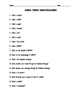 World Trade Questionnaire