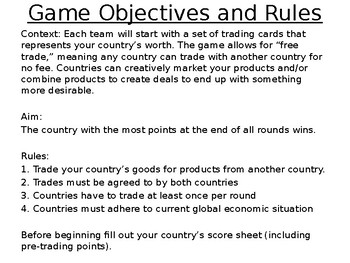 World Trading Game - Influence of Natural Resources - PowerPoint