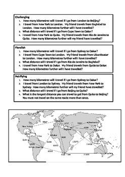 World Travel Distances Addition/Subtraction
