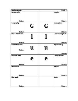World/USA Geography Vocabulary Foldable: Studies Weekly 1