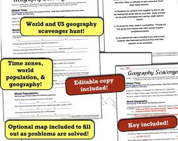 World & United States Geography Scavenger Hunt! Time Zones, Population, More!