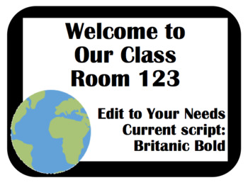 Global View Editable Desk Tags, Labels, and Signs to Set Up the Classroom