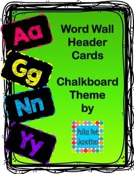 World Wall Header Cards - Chalkboard Theme