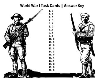 World War 1 Activity   World War 1 Task Cards   World War One