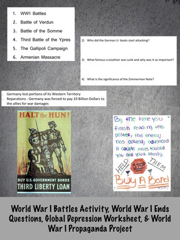 World War 1 Activity Bundle: 26 Activities in 1!