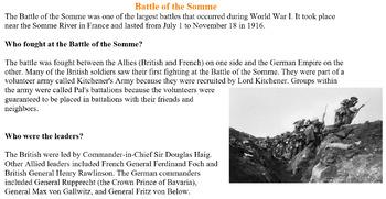 World War 1- Battle of Somme (1916) FULL Lesson Plan!