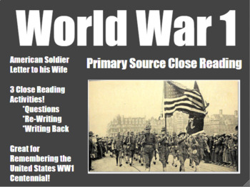World War 1 Close Reading for
