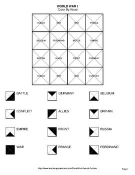 World War 1 - Color By Word & Color By Word Scramble Worksheets