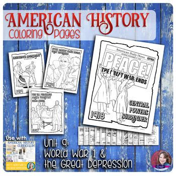 World War 1 and The Great Depression Coloring Activities - US History