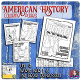World War 1 and The Great Depression Coloring Activities -