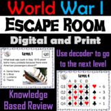 World War 1: Escape Room - Social Studies