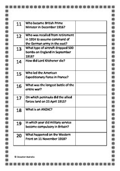 World War 1 / First Trivia Questions / Quiz - 20 Questions With Answers