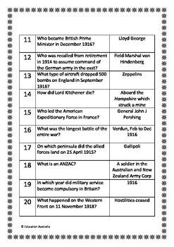 World War 1 / First Trivia Questions / Quiz - 20 Questions ...