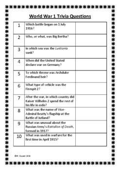 World War 1 / First Trivia Questions / Quiz - 20 Questions