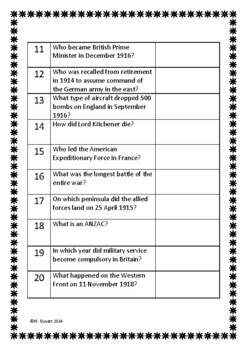 photograph relating to Printable Trivia for Seniors named International War 1 / Very first Trivia Queries / Quiz - 20 Issues With Remedies